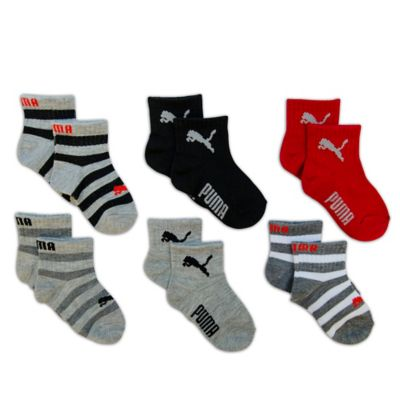 Size 12-24M 6-Pack Socks in Black/Grey