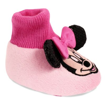 Disney® Minnie Mouse Size 3-4 Sock Top Slipper in Pink
