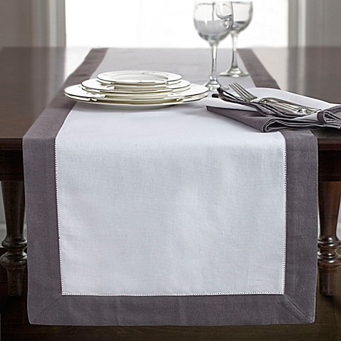 Buy wamsutta bordered linen 72 inch table runner in white for Table runners 52 inches