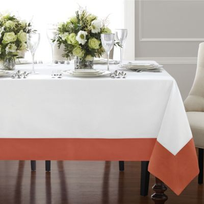 Wamsutta® Bordered Linen 70-Inch x 120-Inch Oblong Tablecloth in Blue