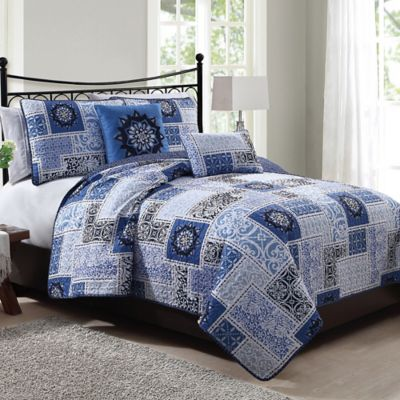 Seychelle 5-Piece King Quilt Set in Navy