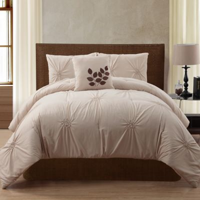 London 4-Piece Queen Comforter Set in White