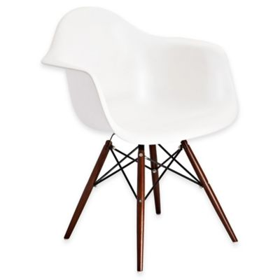 American Atelier Banks Armchair with Wooden Legs in White