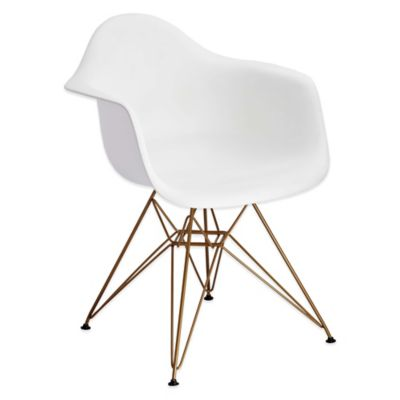 American Atelier Banks Dining Chair with Gold Legs in White