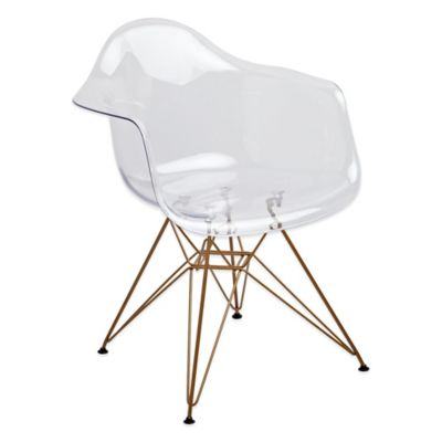 American Atelier Banks Dining Chair with Gold Legs in Clear