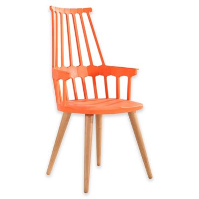 American Atelier Modern Armchair with Wood Legs in Orange