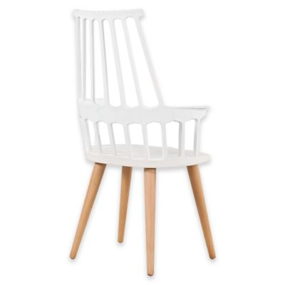 American Atelier Modern Armchair with Wood Legs in White