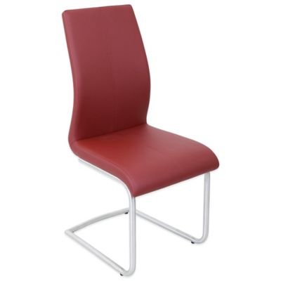 LumiSource Berkeley Stainless Steel Dining Chairs in Red (Set of 2)