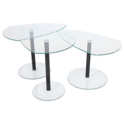 LumiSource 3-Piece Pix Nesting Table Set in White