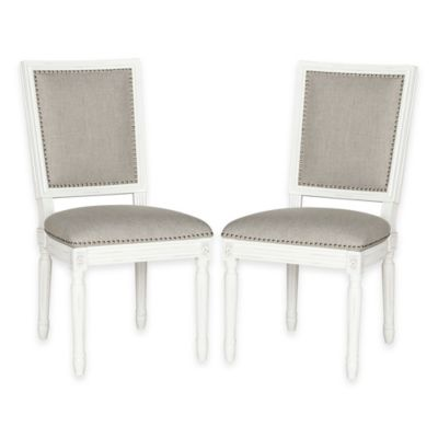 Safavieh Buchanan Rectangular Side Chairs in Cream/Light Grey (Set of 2)