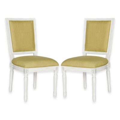 Safavieh Buchanan Rectangular Side Chairs in Cream/Spring Green (Set of 2)