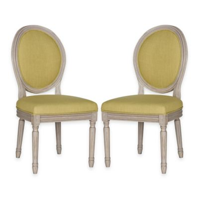 Safavieh Holloway Oval Side Chairs in Light Beige Linen (Set of 2)