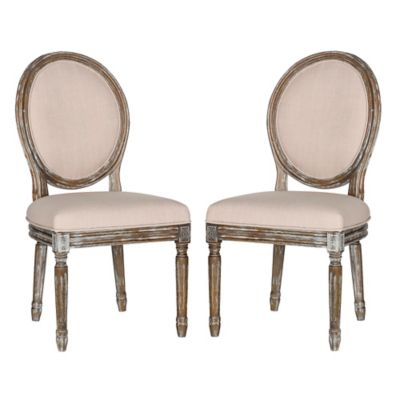 Safavieh Holloway Oval Side Chairs in Beige Linen (Set of 2)