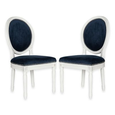 Safavieh Holloway Oval Dining Side Chairs in Navy Velvet (Set of 2)