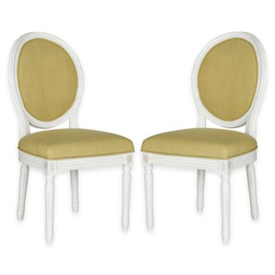 Safavieh Holloway Oval Dining Side Chairs in Spring Green Linen (Set of 2)