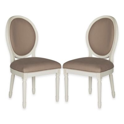 Safavieh Holloway Oval Dining Side Chairs in Taupe Linen (Set of 2)