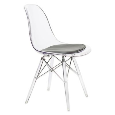 American Atelier Banks Side Chair with Dark Grey Cushion in Clear