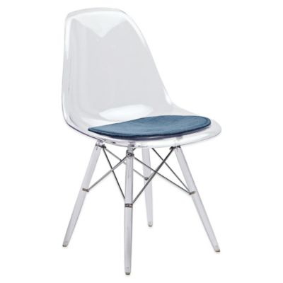 American Atelier Banks Side Chair with Navy Blue Cushion in Clear