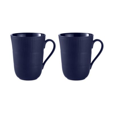 Fluted Mugs in Blue