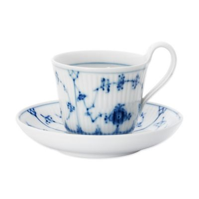 Royal Copenhagen Fluted Plain High Handle Cup and Saucer Set in Blue