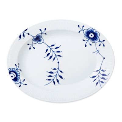 Royal Copenhagen Fluted Mega Large Oval Porcelain Platter in Blue