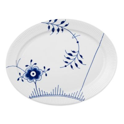 Royal Copenhagen Fluted Mega Oval Porcelain Platter in Blue