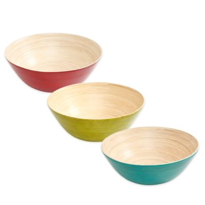 Gibson Overseas Bamboo Bowls in Blue (Set of 4)