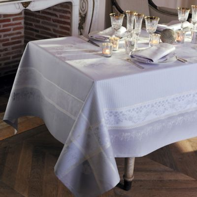 Garnier-Thiebaut Perce-Niege Perle 69-Inch x 143-Inch Tablecloth in Grey