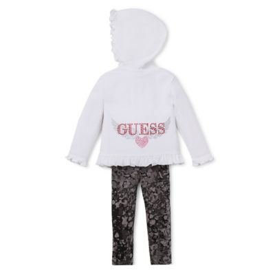 Guess® Size 12M 2-Piece Ruffled Hoodie and Print Legging Set in White/Grey
