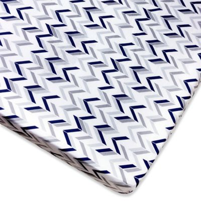 Wendy Bellissimo™ Mix & Match Chevron Fitted Crib Sheet in Grey/Navy