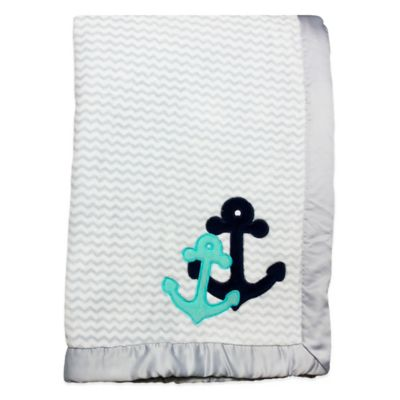 Wendy Bellissimo™ Mix & Match Anchor Applique Plush Blanket in Grey/Teal
