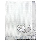 Wendy Bellissimo™ Mix & Match Fox Applique Plush Blanket in Grey