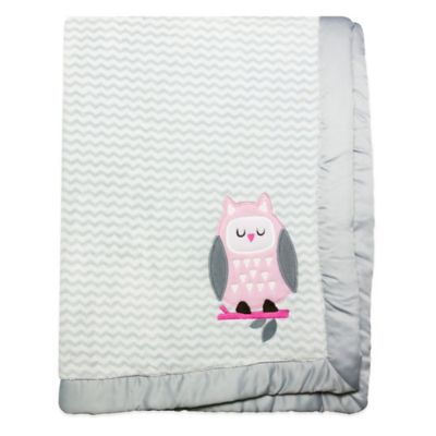 Wendy Bellissimo™ Mix & Match Owl Applique Plush Blanket in Grey/Pink