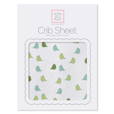 SwaddleDesigns® Little Chickies Flannel Fitted Crib Sheet in Pure Green