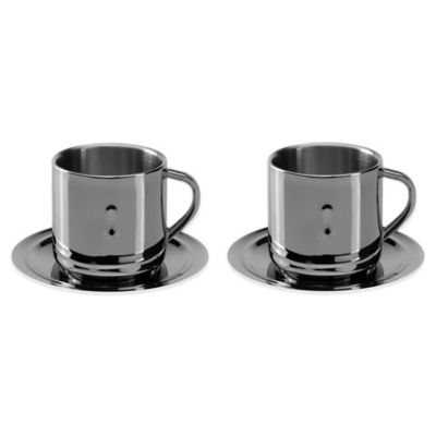 BergHOFF® Straight 3 oz. Coffee Cups and Saucers (Set of 2)