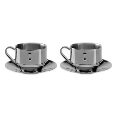 BergHOFF® Straight 3 oz. Cappuccino Cups and Saucers (Set of 2)