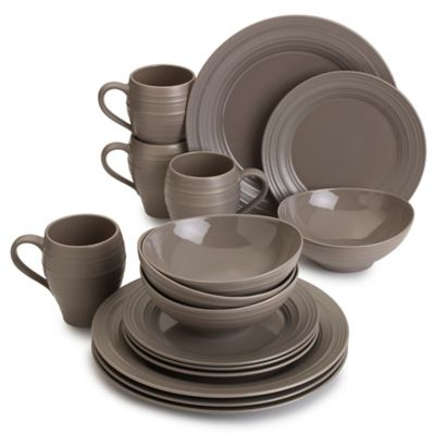 Swirl 16-Piece Dinnerware Set in Mocha