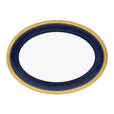 Noritake® Odessa Cobalt 12-Inch Oval Platter in Gold