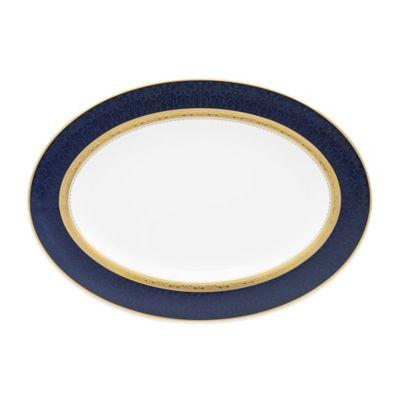 Noritake® Odessa Cobalt 14-Inch Oval Platter in Gold