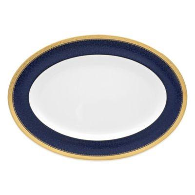 Noritake® Odessa Cobalt 16-Inch Oval Platter in Gold