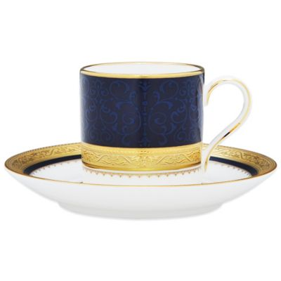 Noritake® Odessa Cobalt After Dinner Cup and Saucer in Gold