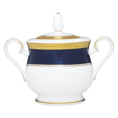 Noritake® Odessa Cobalt Covered Sugar Bowl in Gold