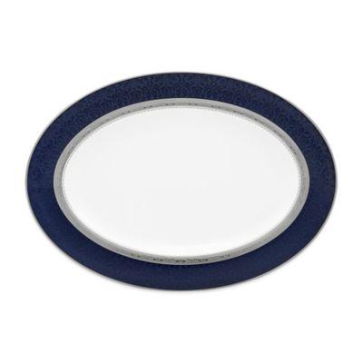 Noritake® Odessa Cobalt 14-Inch Oval Platter in Platinum
