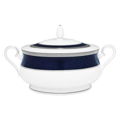 Noritake® Odessa Cobalt Covered Vegetable Bowl in Platinum