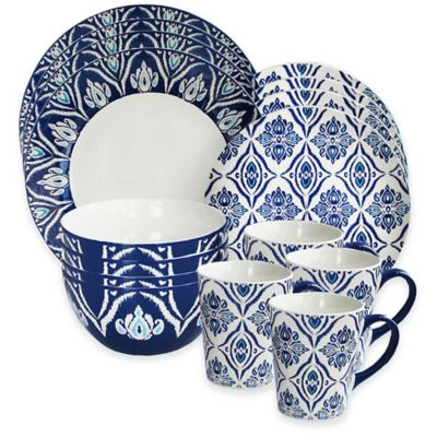American Atelier Pirouette 16-Piece Dinnerware Set in Blue/White