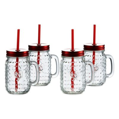 Rooster Jar Mugs with Red Lid and Straw (Set of 4)