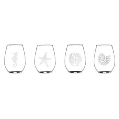 Coastal Assorted Stemless Glasses (Set of 4)