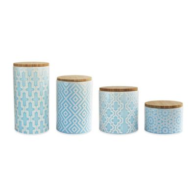 American Atelier 4-Piece Arabesque Canister Set in Blue