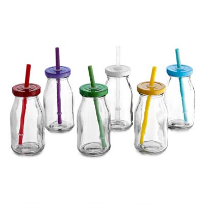 Style Setter Soho 7 oz. Glass Milk Bottle with Rainbow Color Lid and Straw (Set of 6)