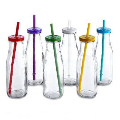 Style Setter Soho 16 oz. Glass Milk Bottle with Rainbow Color Lid and Straw (Set of 6)